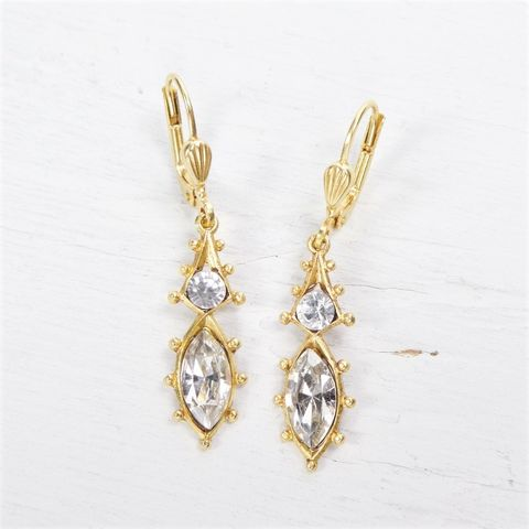 Catherine,Popesco,Antique,Gold,Plated,Small,Eyelet,Crystal,Earrings,Catherine Popesco Earrings, La Vie Parisienne Earrings, Catherine Popesco Jewelry, Catherine Popesco Paris