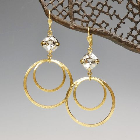 Catherine,Popesco,Double,Hoop,Earrings,with,Swarovski,Crystal,in,Shade,Catherine Popesco Earrings, La Vie Parisienne Earrings, Catherine Popesco Jewelry, Catherine Popesco Paris