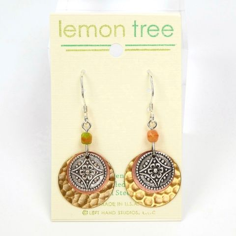 Lemon,Tree,-,Three,Part,Layered,Metal,Discs,Earrings,Lemon Tree Earrings Colorado, Lemon Tree Night Owl Print Square Lace Brass Earrings