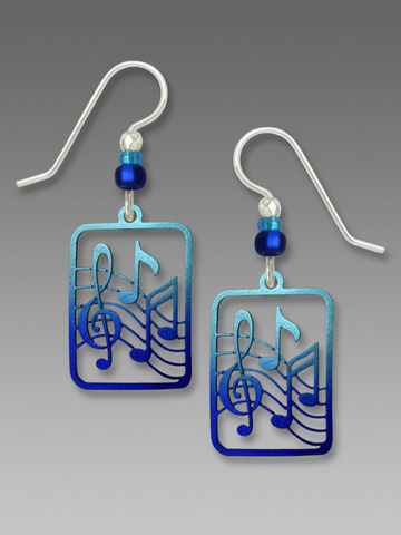 Sienna,Sky,Earrings,-,Treble,Clef,and,Music,Note,in,Metallic,Blue,Sienna Sky Earrings, Adajio earrings Sienna Sky, Etched Brass Earrings, Snowflake earrings