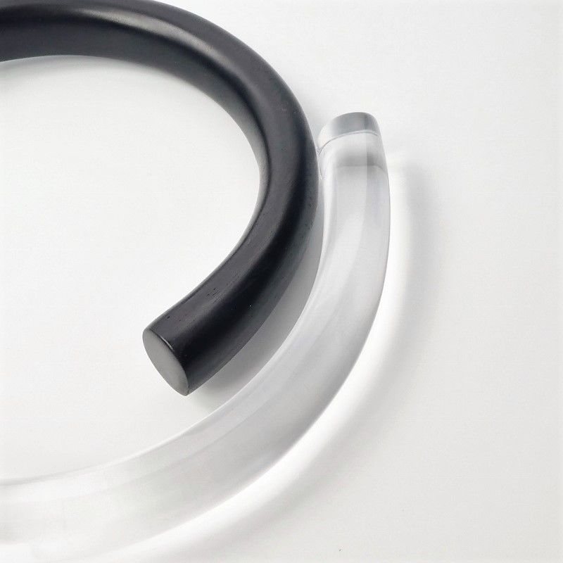 Monies - Clear Acrylic and Black Ebony Hinged Collar Necklace - product image