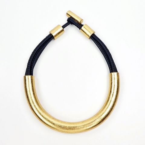 Monies,-,Gold,Foil,Arc,Black,Leather,Collar,Necklace, Monies Necklace, Monies Denmark, Monies Jewelry