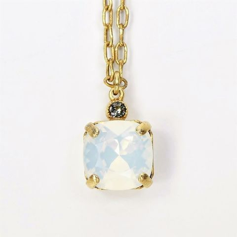 Catherine,Popesco,Small,Square,Crystal,Pendant,Necklace,in,White,Opal,La Vie Parisienne Necklace, Catherine Popesco Jewelry, Catherine Popesco Paris