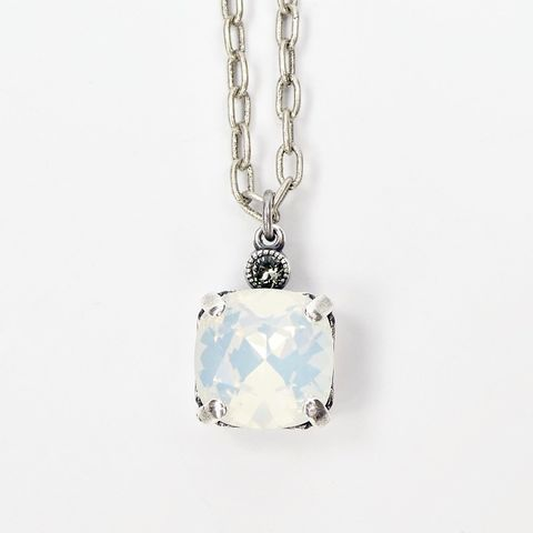 Catherine,Popesco,Antique,Silver,Tone,Small,Square,Crystal,Pendant,Necklace,in,White,Opal,La Vie Parisienne Necklace, Catherine Popesco Jewelry, Catherine Popesco Paris