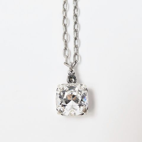 Catherine,Popesco,Antique,Silver,Tone,Small,Square,Crystal,Pendant,Necklace,in,Clear,La Vie Parisienne Necklace, Catherine Popesco Jewelry, Catherine Popesco Paris