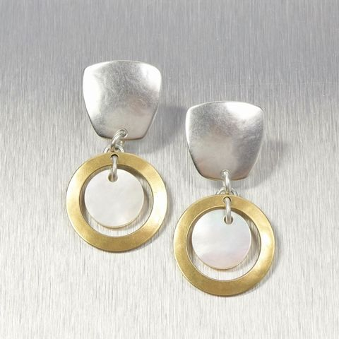 Marjorie,Baer,Tapered,Square,with,Ring,and,Mother,of,Pearl,Disc,Earrings,Marjorie Baer, Brass Earrings, MBSF, Handmade Earrings