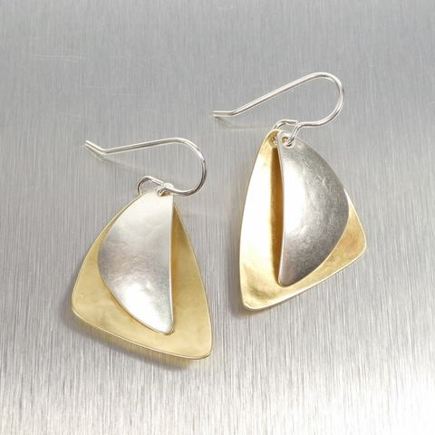 Marjorie,Baer,Layered,Triangles,Earrings,In,Two,Tone,Marjorie Baer, Brass Earrings, MBSF, Handmade Earrings