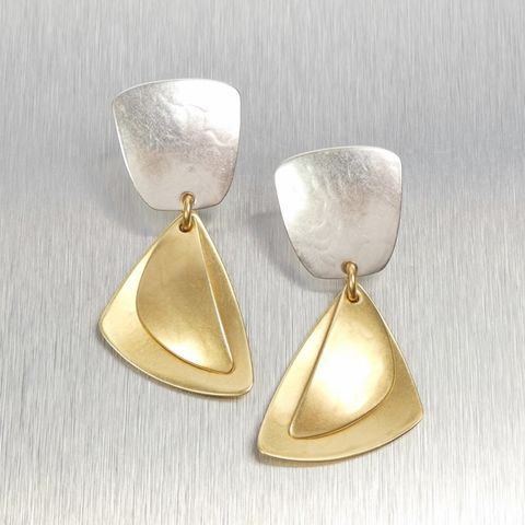 Marjorie,Baer,Tapered,Square,with,Layered,Triangles,Earrings,Marjorie Baer, Brass Earrings, MBSF, Handmade Earrings
