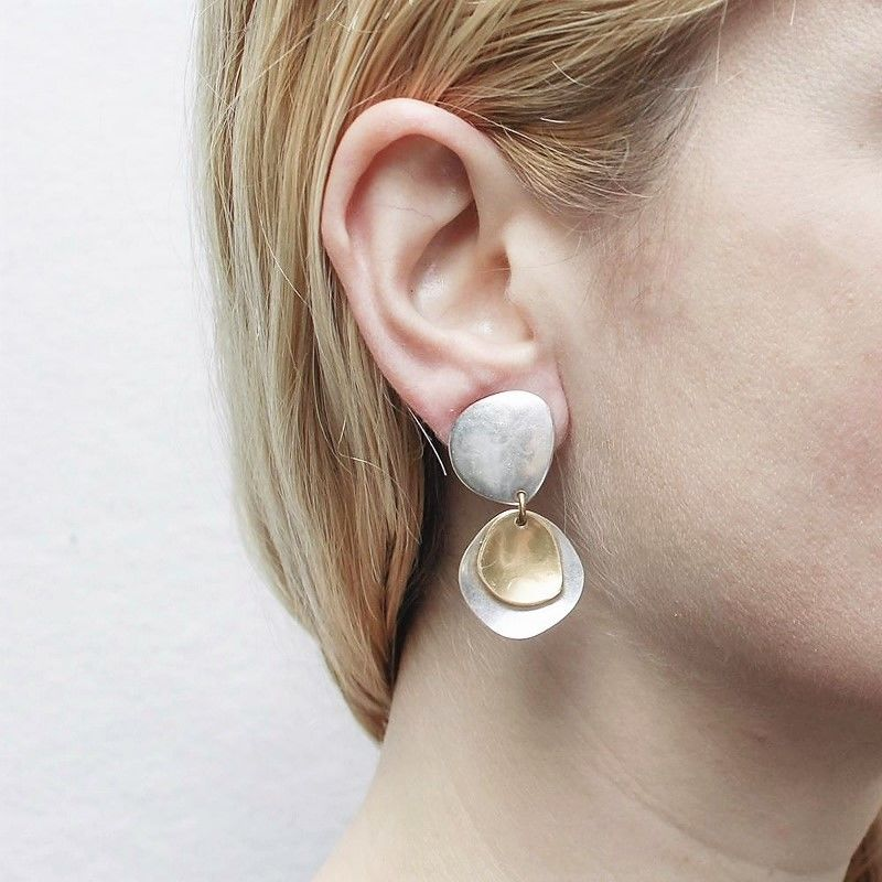 Marjorie Baer Hammered Organic Disc with Layer Discs Earrings - product image