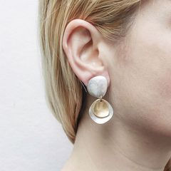 Marjorie Baer Hammered Organic Disc with Layer Discs Earrings - product images 3 of 8