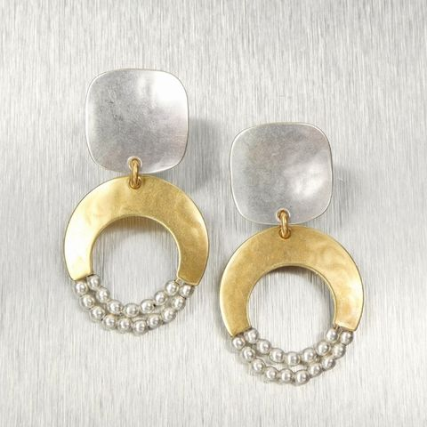 Marjorie,Baer,Rounded,Square,with,Crescent,and,Beads,Earrings,Marjorie Baer, Brass Earrings, MBSF, Handmade Earrings