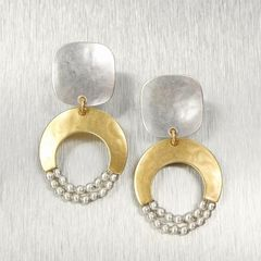 Marjorie Baer Rounded Square with Crescent and Beads Earrings - product images 1 of 9