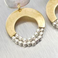 Marjorie Baer Rounded Square with Crescent and Beads Earrings - product images 3 of 9