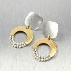 Marjorie Baer Rounded Square with Crescent and Beads Earrings - product images 2 of 9
