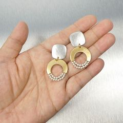 Marjorie Baer Rounded Square with Crescent and Beads Earrings - product images 8 of 9