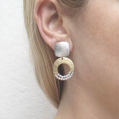 Marjorie Baer Rounded Square with Crescent and Beads Earrings - product images 4 of 9