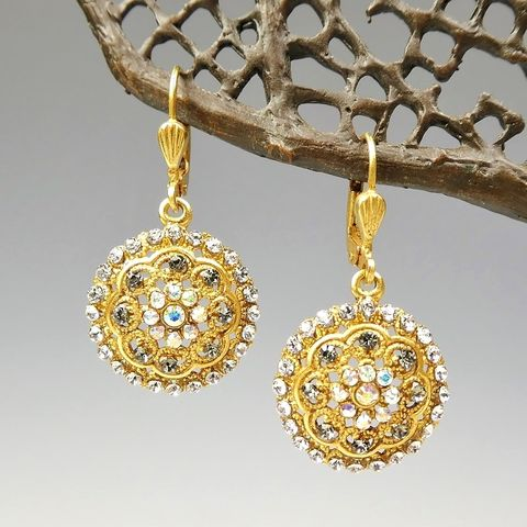 Catherine,Popesco,Round,Ornate,Floral,Earrings,with,Crystals,Catherine Popesco Earrings, La Vie Parisienne Earrings, Catherine Popesco Jewelry, Catherine Popesco Paris