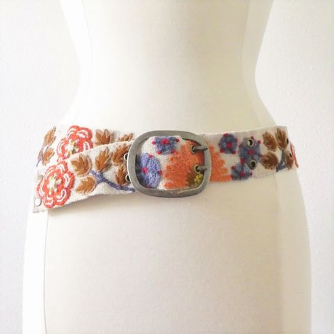 Jenny,Krauss,Orange,Flower,Belt,Jenny Krauss Orange Flower Belt, jenny krauss embroidered peruvian belt, Jenny Krauss wool embroidered belt