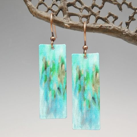 DC,Designs,-,Blue,Green,Abstract,Art,Long,Rectangle,Earrings,2NCE,DC Designs Jewelry, Art Print Earrings, DC Designs Earrings, Handmade Colorado