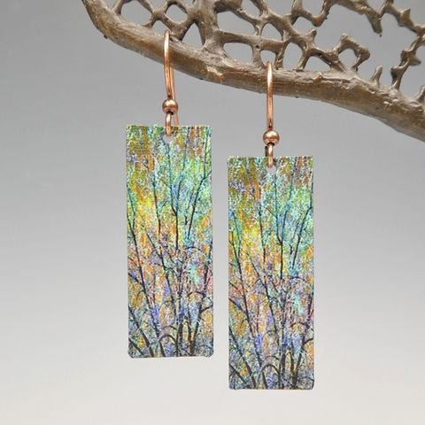 DC,Designs,-,Brown,Green,Trees,Nature,Print,Long,Rectangle,Earrings,ME22CE,DC Designs Jewelry, Art Print Earrings, DC Designs Earrings, Handmade Colorado