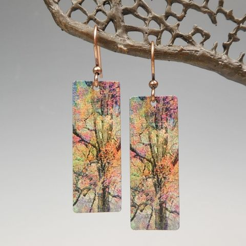 DC,Designs,-,Red,Yellow,Autumn,Trees,Nature,Print,Long,Rectangle,Earrings,ME25CE,DC Designs Jewelry, Art Print Earrings, DC Designs Earrings, Handmade Colorado