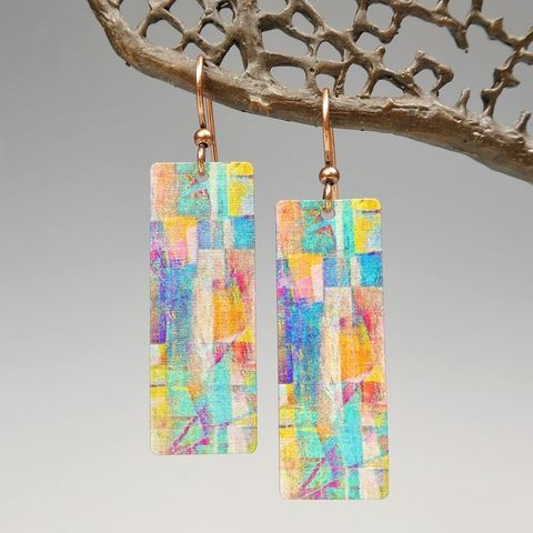 DC,Designs,-,Multicolor,Mosaic,Abstract,Art,Long,Rectangle,Earrings,7NCE,DC Designs Jewelry, Art Print Earrings, DC Designs Earrings, Handmade Colorado