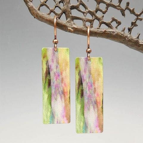 DC,Designs,-,Multicolor,Abstract,Art,Long,Rectangle,Earrings,3NCE,DC Designs Jewelry, Art Print Earrings, DC Designs Earrings, Handmade Colorado