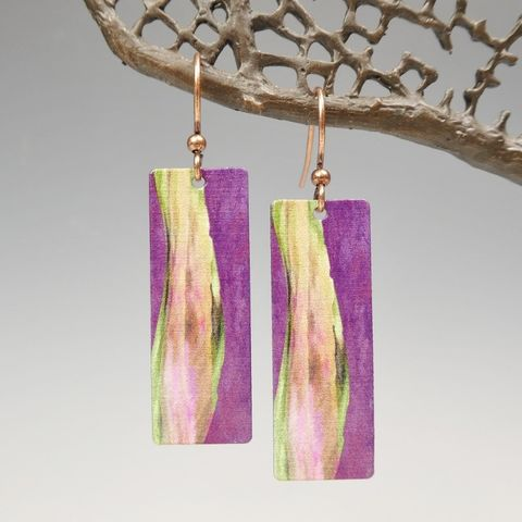 DC,Designs,-,Purple,Abstract,Art,Long,Rectangle,Earrings,4NCE,DC Designs Jewelry, Art Print Earrings, DC Designs Earrings, Handmade Colorado