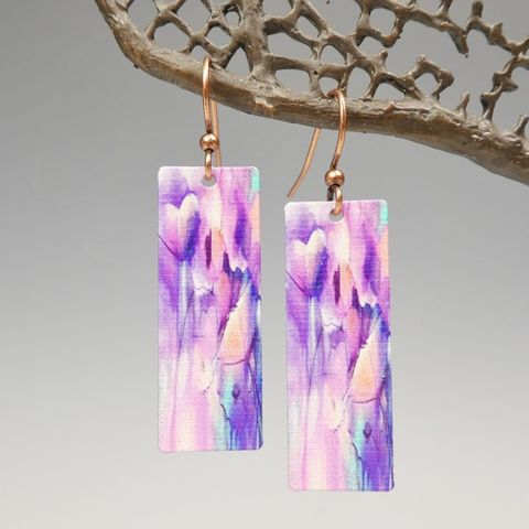 DC,Designs,-,Pink,Purple,Floral,Abstract,Art,Long,Rectangle,Earrings,6NCE,DC Designs Jewelry, Art Print Earrings, DC Designs Earrings, Handmade Colorado