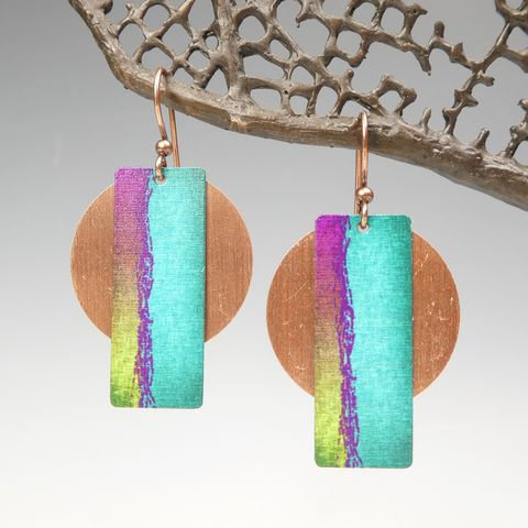 DC,Designs,-,Turquoise,Column,on,Copper,Disc,Abstract,Art,Earrings,3AE,DC Designs Jewelry, Art Print Earrings, DC Designs Earrings, Handmade Colorado