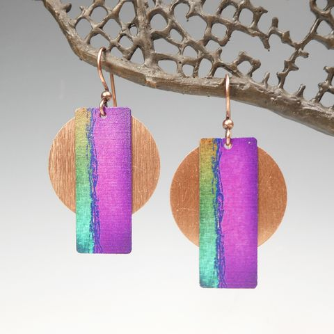 DC,Designs,-,Fuchsia,Column,on,Copper,Disc,Abstract,Art,Earrings,5AE,DC Designs Jewelry, Art Print Earrings, DC Designs Earrings, Handmade Colorado