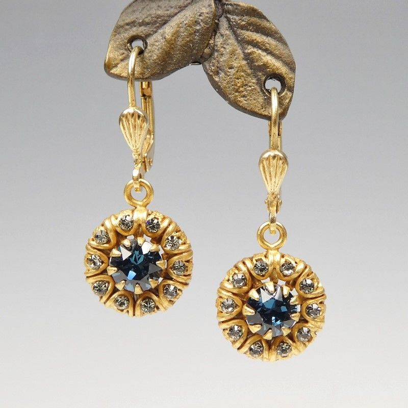 47806cc727d7a Catherine Popesco Rolled Edge Crystal Earrings in Midnight