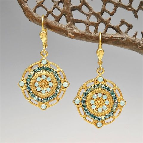 Catherine,Popesco,Ornate,Round,Earrings,with,Crystals,in,Pacific,Opal,and,Teal,Catherine Popesco Earrings, La Vie Parisienne Earrings, Catherine Popesco Jewelry, Catherine Popesco Paris