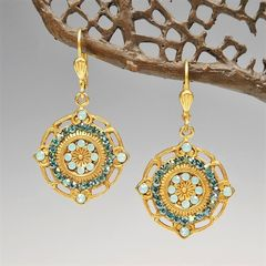 Catherine Popesco Ornate Round Earrings with Crystals in Pacific Opal and Teal - product images 1 of 6
