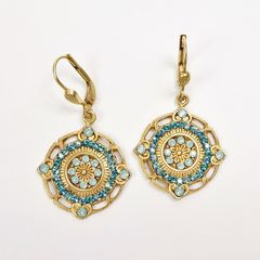 Catherine Popesco Ornate Round Earrings with Crystals in Pacific Opal and Teal - product images 2 of 6