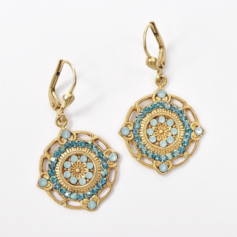 Catherine Popesco Ornate Round Earrings with Crystals in Pacific Opal and Teal - product image