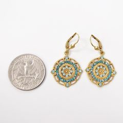 Catherine Popesco Ornate Round Earrings with Crystals in Pacific Opal and Teal - product images 4 of 6