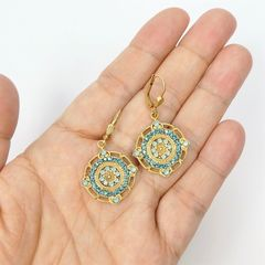Catherine Popesco Ornate Round Earrings with Crystals in Pacific Opal and Teal - product images 6 of 6