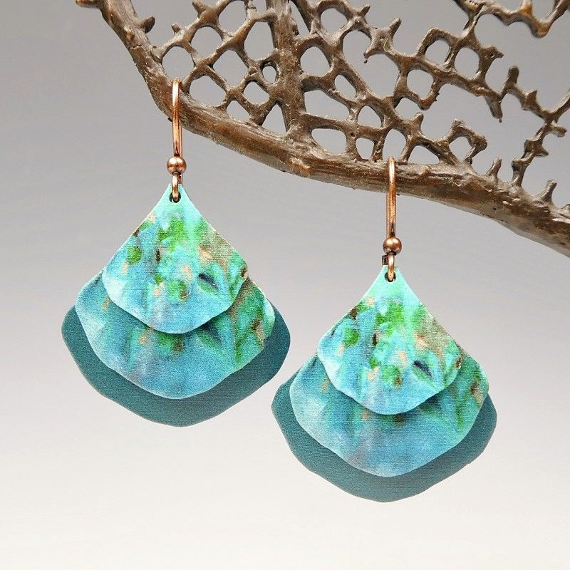 DC Designs - Blue Green Abstract Art Layered Wide Teardrop Earrings 2NGE - product image