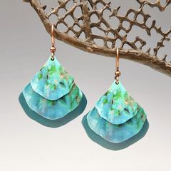 DC Designs - Blue Green Abstract Art Layered Wide Teardrop Earrings 2NGE - product images 1 of 4