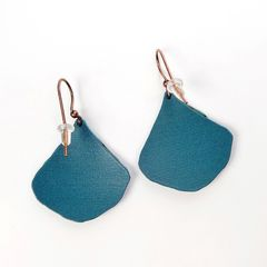 DC Designs - Blue Green Abstract Art Layered Wide Teardrop Earrings 2NGE - product images 3 of 4