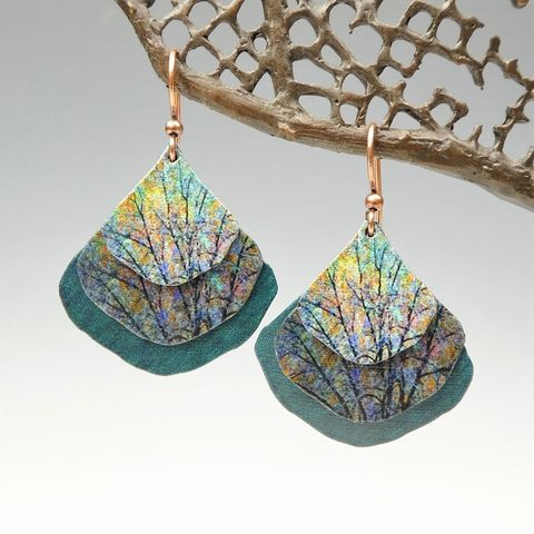 DC,Designs,-,Trees,Nature,Print,Layered,Wide,Teardrop,Earrings,ME22GE,DC Designs Jewelry, Art Print Earrings, DC Designs Earrings, Handmade Colorado