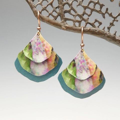 DC,Designs,-,Pink,Green,Multicolor,Art,Print,Layered,Wide,Teardrop,Earrings,3NGE,DC Designs Jewelry, Art Print Earrings, DC Designs Earrings, Handmade Colorado