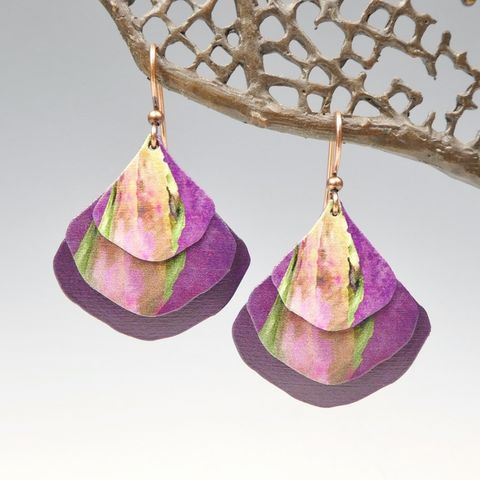 DC,Designs,-,Rich,Purple,Multicolor,Art,Print,Layered,Wide,Teardrop,Earrings,4NGE,DC Designs Jewelry, Art Print Earrings, DC Designs Earrings, Handmade Colorado