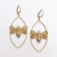 Catherine Popesco Large Bee in Marquise Frame Earrings with Crystals - product images 3 of 6
