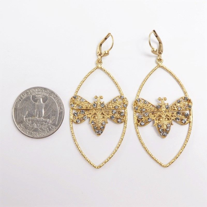 Catherine Popesco Large Bee in Marquise Frame Earrings with Crystals - product image