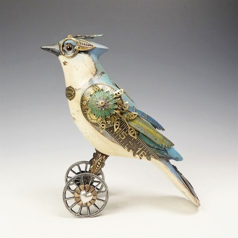 Mullanium,Bird,-,Blue,Jay,on,Wheels,Mullanium Birds, Mullanium songbirds, mullanium by jim and tori, mullanium art