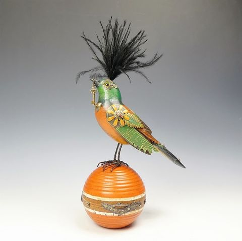 Mullanium,Bird,-,Orange,and,Green,with,Key,on,Ball,Mullanium Birds, Mullanium songbirds, mullanium by jim and tori, mullanium art
