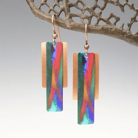 DC,Designs,-,Dark,Green,Red,Multicolor,Column,on,Copper,Back,Abstract,Art,Earrings,3FE,DC Designs Jewelry, Art Print Earrings, DC Designs Earrings, Handmade Colorado