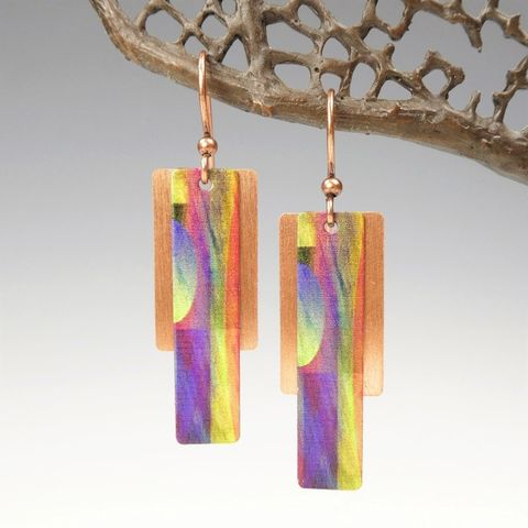 DC,Designs,-,Yellow,Green,Purple,Multicolor,Column,on,Copper,Back,Abstract,Art,Earrings,2FE,DC Designs Jewelry, Art Print Earrings, DC Designs Earrings, Handmade Colorado